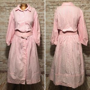 Vintage 1980s Belted Striped Shirt Dress